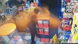 Brave shopkeeper fights off robber with chili powder  [Video]