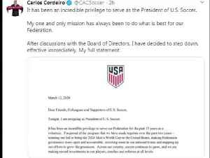 U.S. Soccer President Cordeiro resigns after taking responsibility for language in a federation court filing [Video]