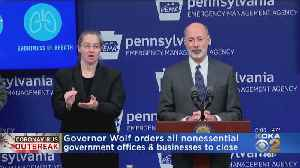 News video: 'Please Stay Home': Gov. Tom Wolf Asks Nonessential Government Offices And Businesses To Close
