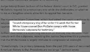 Judge Grants Temporary Stay On Order For McGahn To Comply With Subpoena [Video]