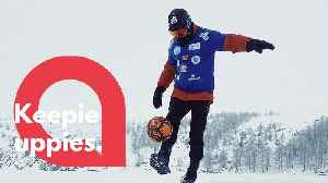 Freestyle footballer travels 50 miles across Siberian lake while doing keepie uppies [Video]