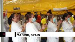Field hospital in Madrid celebrates their first coronavirus patient being given the all-clear [Video]