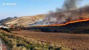 Wildfire breaks out on Winter Hill near Bolton, northwest England [Video]