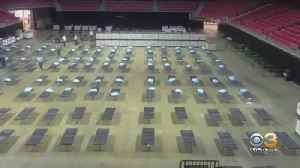 New Video Of Crews Transforming Temple University's Liacouras Center Into Field Hospital [Video]