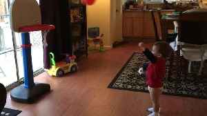 Toddler Giggles Funnily Every Time He Throws Ball Into Basket [Video]