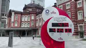 Toyko 2020 Olympic Games countdown clock reset in Tokyo [Video]
