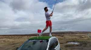 Golf fanatic turns his car into a mobile DRIVING RANGE [Video]