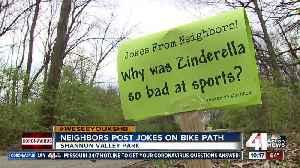 Neighbors post jokes on bike path [Video]