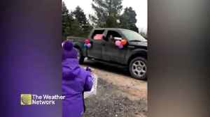 9-year-old gets surprise car parade for her birthday - firetrucks included [Video]