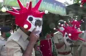 Indian police don coronavirus-themed helmets [Video]