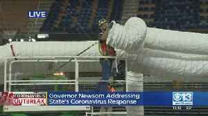 Coronavirus Surge: Gov. Newsom Tours Old Sleep Train Arena Site As Work Starts [Video]