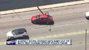 Suspect stops, woman gets baby out of back seat during Detroit police chase [Video]