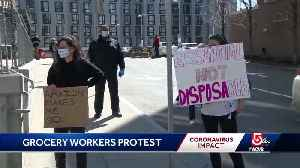 Grocery workers protest, call for hazard pay [Video]