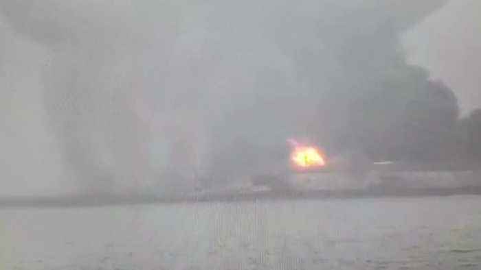 News video: Iranian Oil Tanker Burns For Third Day