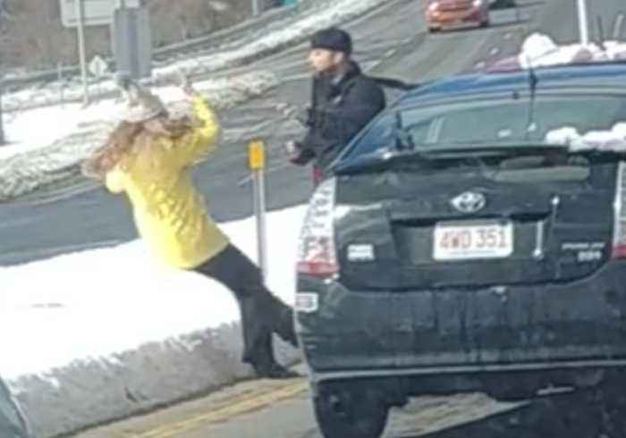 Woman Pushes Woman After A Car Accident