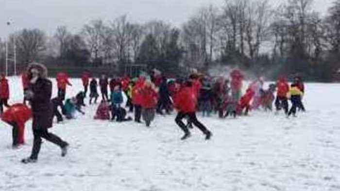 News video: Hampshire School Kids Swarm In on Teachers in a Lop-Sided Snow Fight