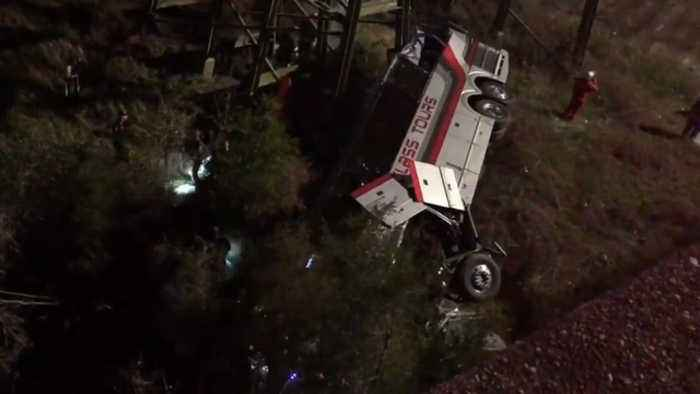 News video: Charter bus plunges into Alabama ravine