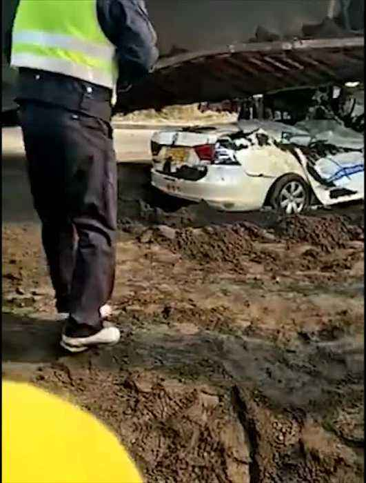 News video: Driving School Students Car Crushed By Gravel Lorry