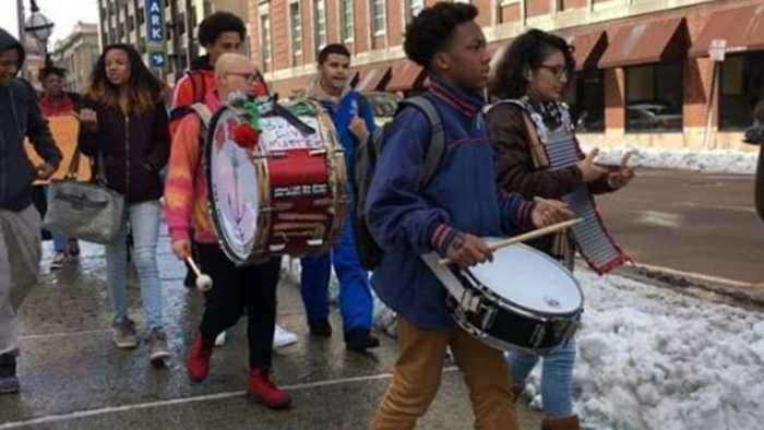 Students Bang Drums During Rhode Island Walkout