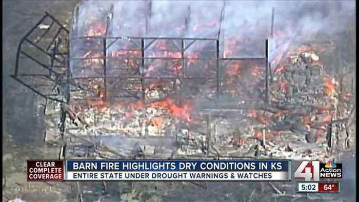 Barn fire highlights dry conditions in Kansas