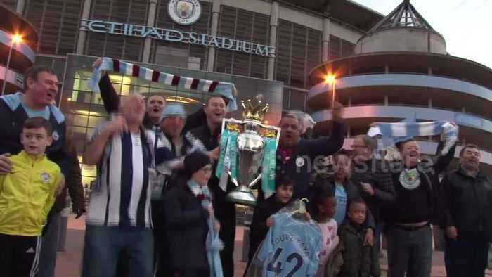 News video: Man City fans gather at Etihad to celebrate title win