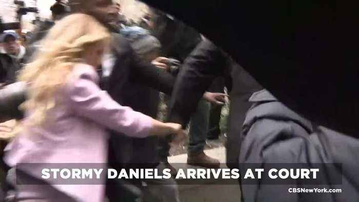 News video: Raw Video: Stormy Daniels, Michael Cohen Arrive At Court