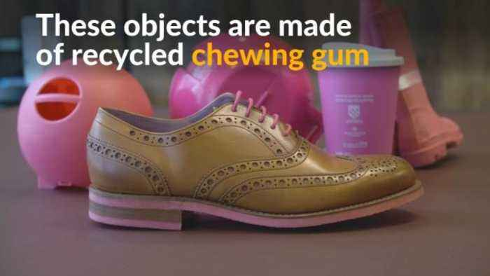 News video: UK firm turns chewed gum into shoes, coffee cups and rain boots
