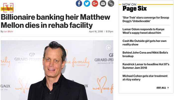 Cryptocurrency Billionaire Matthew Mellon Dies Suddenly in Rehab