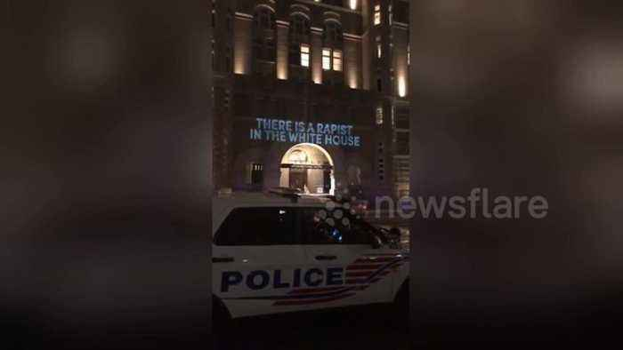 News video: 'Rapist in the White House' message projected onto Trump's hotel