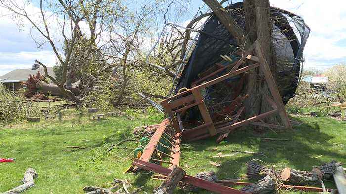 News video: Virginia Woman Says Suspected Tornado Wrapped Trampoline Around Tree