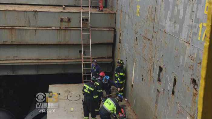 Fire Dept. Rescues Man After Falling In Hole Onboard Ship At Marina