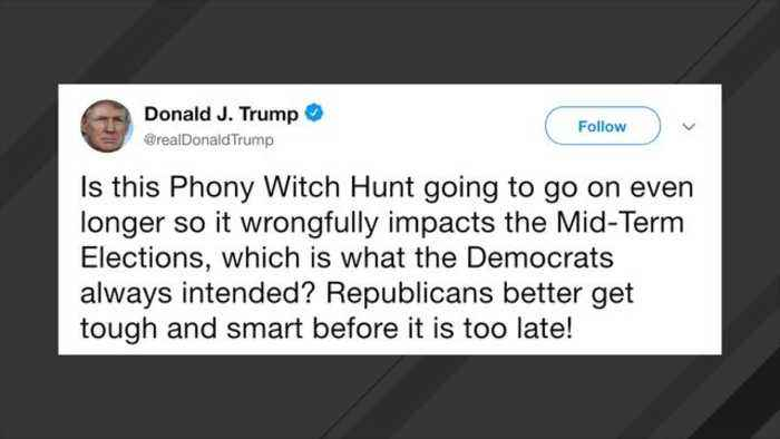 News video: Trump: 'Phony Witch Hunt' Could 'Wrongfully' Impact Mid-Term Elections