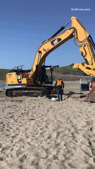 Tractor on beach to help sailing boat stuck on sand