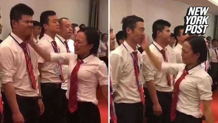 Boss lines up 'bad' employees and slaps them in the face
