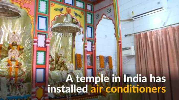 News video: To keep deities cool, Indian temple installs air conditioners