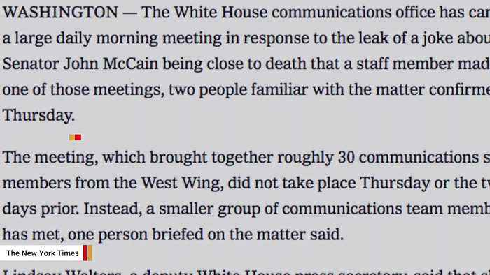 Report: White House 'Canceled A Large Daily Morning Meeting' After McCain Remark Leak