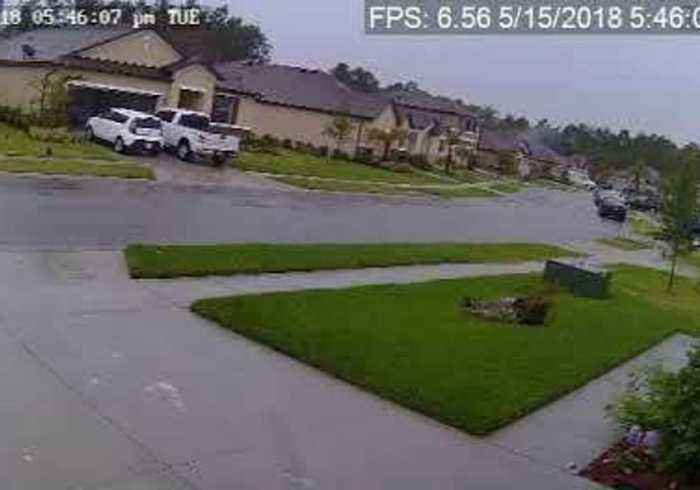 News video: Security Camera Video Shows Daytona Beach Household Struck by Lightning