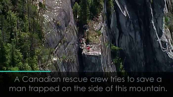 News video: Dramatic footage shows man rescued from cliff face in Canada