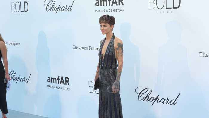 Ruby Rose talks tattoos as she makes her Cannes debut at the amfAR gala