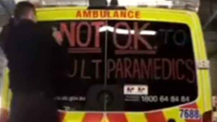 News video: Message for Paramedic Safety Scrawled on Melbourne Ambulance