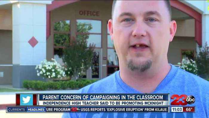 Parent concern of campaigning in the classroom