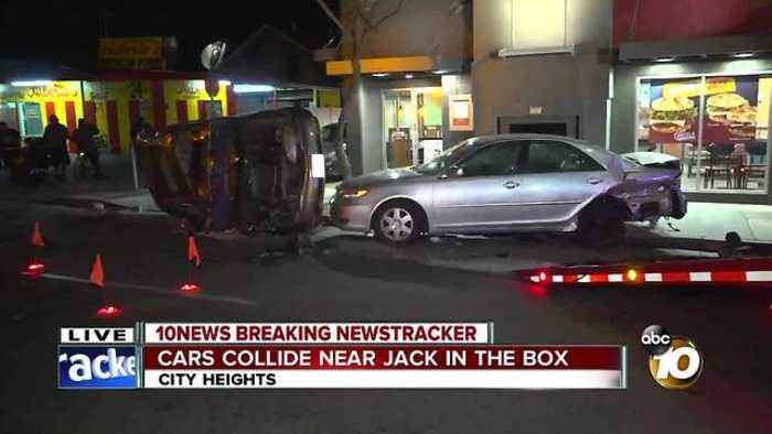 Cars collide near Jack In The Box