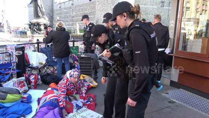 News video: Police inspect camping royal wedding super-fans in Windsor
