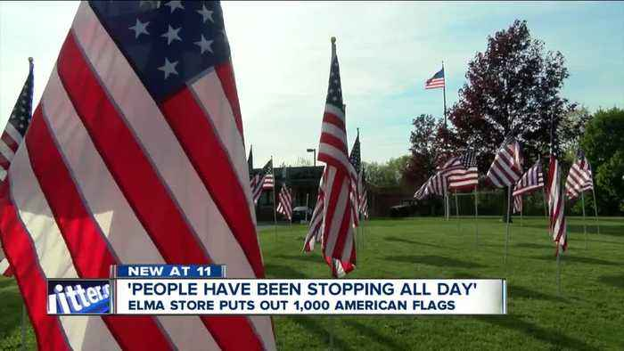 News video: Elma store puts out 1,000 American flags