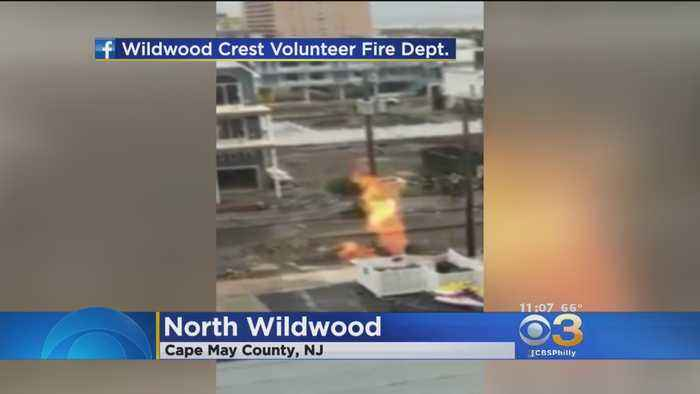 Gas Leak Sends Flames Shooting Into The Air In North Wildwood