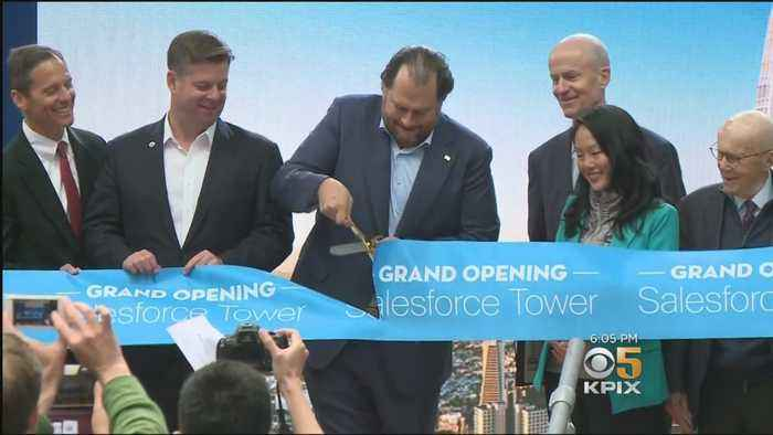 Salesforce CEO Marc Benioff Promises Help For Homeless At Tower Opening Ceremony