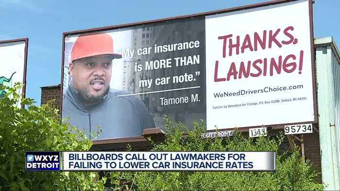 News video: Billboards around metro Detroit blame lawmakers for failing to lower car insurance ratesoo