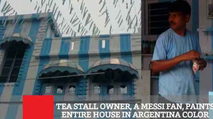 News video: Tea Stall Owner, A Messi Fan, Paints Entire House In Argentina Color