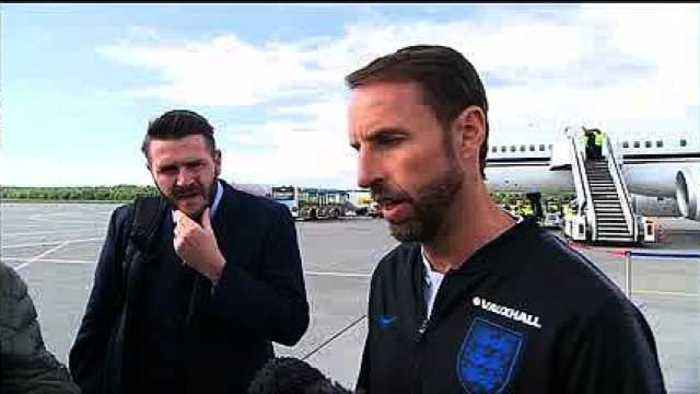 News video: England arrive at St Petersburg as World Cup build-up continues