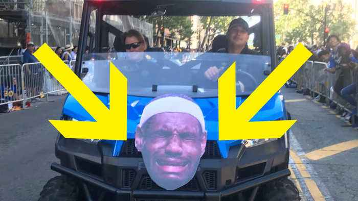 News video: Warriors SAVAGELY Troll Lebron James at Championship Parade